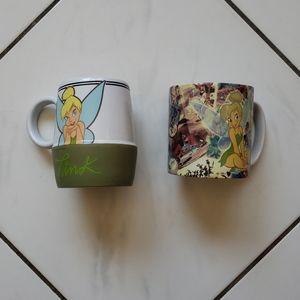 Disney Lot 2 Tinkerbell Tink Peter Pan Coffee Mugs